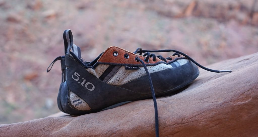 Five Ten worn climbing shoes